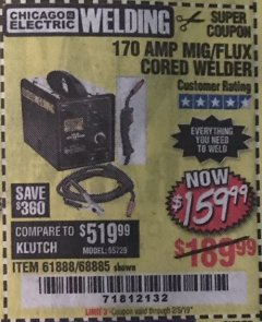 Harbor Freight Coupon 170 AMP MIG/FLUX WIRE FEED WELDER Lot No. 68885/61888 Expired: 2/5/19 - $159.99