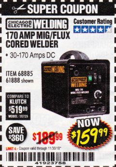 Harbor Freight Coupon 170 AMP MIG/FLUX WIRE FEED WELDER Lot No. 68885/61888 Expired: 11/30/18 - $159.99