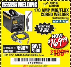 Harbor Freight Coupon 170 AMP MIG/FLUX WIRE FEED WELDER Lot No. 68885/61888 EXPIRES: 6/30/20 - $169.99
