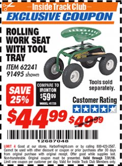 Harbor Freight ITC Coupon ROLLING WORK SEAT WITH TOOL TRAY Lot No. 62241/91495 Expired: 7/31/18 - $44.99