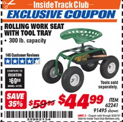 Harbor Freight ITC Coupon ROLLING WORK SEAT WITH TOOL TRAY Lot No. 62241/91495 Valid Thru: 9/30/19 - $44.99