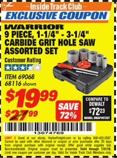 "Harbor Freight ITC Coupon 9 PIECE, 1-1/4"" - 3-1/4"" CARBIDE GRIT HOLE SAW ASSORTED SET Lot No. 69068/68116 Expired: 7/31/18 - $19.99"