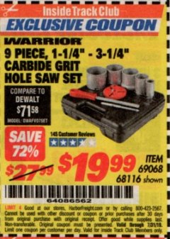 "Harbor Freight ITC Coupon 9 PIECE, 1-1/4"" - 3-1/4"" CARBIDE GRIT HOLE SAW ASSORTED SET Lot No. 69068/68116 Expired: 7/31/19 - $19.99"