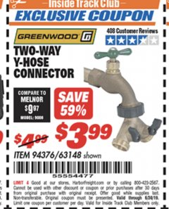 Harbor Freight ITC Coupon TWO-WAY Y-HOSE CONNECTOR Lot No. 94376/63148 Expired: 6/30/19 - $3.99