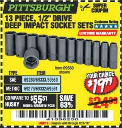 "Harbor Freight Coupon 13 PIECE 1/2"" DRIVE DEEP WALL IMPACT SOCKET SETS Lot No. 69560/67903/69280/69333/69561/67904/69279/69332 Expired: 12/1/18 - $19.99"