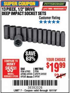 "Harbor Freight Coupon 13 PIECE 1/2"" DRIVE DEEP WALL IMPACT SOCKET SETS Lot No. 69560/67903/69280/69333/69561/67904/69279/69332 Expired: 10/1/18 - $19.99"