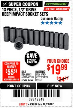 "Harbor Freight Coupon 13 PIECE 1/2"" DRIVE DEEP WALL IMPACT SOCKET SETS Lot No. 69560/67903/69280/69333/69561/67904/69279/69332 Expired: 12/23/18 - $19.99"
