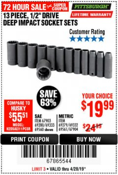"Harbor Freight Coupon 13 PIECE 1/2"" DRIVE DEEP WALL IMPACT SOCKET SETS Lot No. 69560/67903/69280/69333/69561/67904/69279/69332 Expired: 4/28/19 - $19.99"