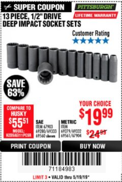 "Harbor Freight Coupon 13 PIECE 1/2"" DRIVE DEEP WALL IMPACT SOCKET SETS Lot No. 69560/67903/69280/69333/69561/67904/69279/69332 Expired: 5/19/19 - $19.99"