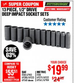 "Harbor Freight Coupon 13 PIECE 1/2"" DRIVE DEEP WALL IMPACT SOCKET SETS Lot No. 69560/67903/69280/69333/69561/67904/69279/69332 Expired: 10/4/19 - $19.99"
