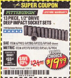 "Harbor Freight Coupon 13 PIECE 1/2"" DRIVE DEEP WALL IMPACT SOCKET SETS Lot No. 69560/67903/69280/69333/69561/67904/69279/69332 Expired: 11/30/19 - $19.99"