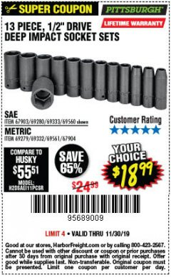 "Harbor Freight Coupon 13 PIECE 1/2"" DRIVE DEEP WALL IMPACT SOCKET SETS Lot No. 69560/67903/69280/69333/69561/67904/69279/69332 Expired: 11/30/19 - $18.99"