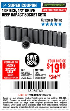 "Harbor Freight Coupon 13 PIECE 1/2"" DRIVE DEEP WALL IMPACT SOCKET SETS Lot No. 69560/67903/69280/69333/69561/67904/69279/69332 Expired: 12/24/19 - $19.99"
