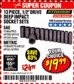 "Harbor Freight Coupon 13 PIECE 1/2"" DRIVE DEEP WALL IMPACT SOCKET SETS Lot No. 69560/67903/69280/69333/69561/67904/69279/69332 Valid Thru: 3/31/20 - $19.99"