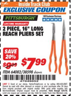 "Harbor Freight ITC Coupon 2 PIECE, 16"" LONG REACH PLIERS SET Lot No. 38598/64082 Dates Valid: 12/31/69 - 5/31/19 - $7.99"