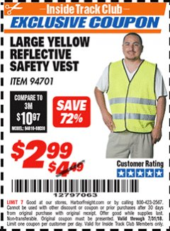 Harbor Freight ITC Coupon YELLOW REFLECTIVE SAFETY VESTS Lot No. 94701/94700 Expired: 7/31/18 - $2.99