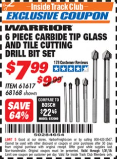 Harbor Freight ITC Coupon 6 PIECE CARBIDE TIP GLASS AND TILE CUTTING DRILL BIT SET Lot No. 68168/61617 Expired: 1/31/19 - $7.99