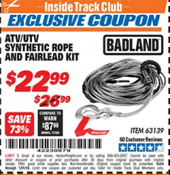 Harbor Freight ITC Coupon ATV/UTV SYNTHETIC ROPE AND FAIRLEAD KIT Lot No. 63139 Expired: 1/31/19 - $22.99