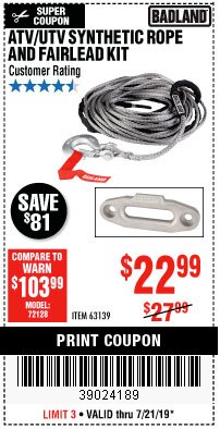 Harbor Freight Coupon ATV/UTV SYNTHETIC ROPE AND FAIRLEAD KIT Lot No. 63139 Expired: 7/21/19 - $22.99