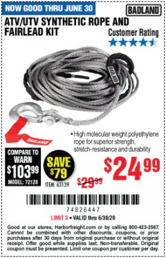Harbor Freight Coupon ATV/UTV SYNTHETIC ROPE AND FAIRLEAD KIT Lot No. 63139 EXPIRES: 6/30/20 - $24.99