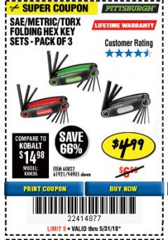 Harbor Freight Coupon SAE/METRIC/TORX FOLDING HEX KEY SET PACK OF 3 Lot No. 94905/60822/61921 Expired: 5/31/18 - $4.99