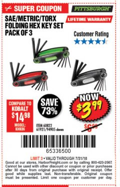 Harbor Freight Coupon SAE/METRIC/TORX FOLDING HEX KEY SET PACK OF 3 Lot No. 94905/60822/61921 Expired: 7/31/18 - $3.99