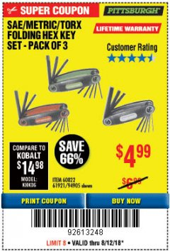 Harbor Freight Coupon SAE/METRIC/TORX FOLDING HEX KEY SET PACK OF 3 Lot No. 94905/60822/61921 Expired: 8/12/18 - $4.99