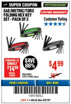 Harbor Freight Coupon SAE/METRIC/TORX FOLDING HEX KEY SET PACK OF 3 Lot No. 94905/60822/61921 Expired: 9/2/18 - $4.99