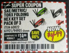 Harbor Freight Coupon SAE/METRIC/TORX FOLDING HEX KEY SET PACK OF 3 Lot No. 94905/60822/61921 Expired: 10/31/18 - $4.99