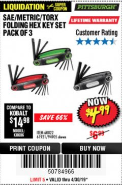 Harbor Freight Coupon SAE/METRIC/TORX FOLDING HEX KEY SET PACK OF 3 Lot No. 94905/60822/61921 Expired: 4/30/19 - $4.99
