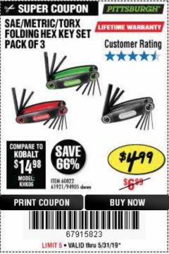 Harbor Freight Coupon SAE/METRIC/TORX FOLDING HEX KEY SET PACK OF 3 Lot No. 94905/60822/61921 Expired: 5/31/19 - $4.99