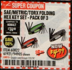 Harbor Freight Coupon SAE/METRIC/TORX FOLDING HEX KEY SET PACK OF 3 Lot No. 94905/60822/61921 Expired: 7/31/19 - $4.99