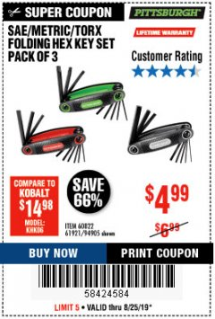 Harbor Freight Coupon SAE/METRIC/TORX FOLDING HEX KEY SET PACK OF 3 Lot No. 94905/60822/61921 Expired: 8/25/19 - $4.99