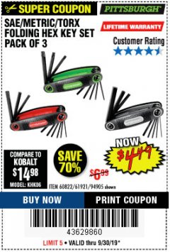 Harbor Freight Coupon SAE/METRIC/TORX FOLDING HEX KEY SET PACK OF 3 Lot No. 94905/60822/61921 Expired: 9/30/19 - $4.49