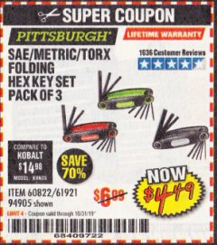 Harbor Freight Coupon SAE/METRIC/TORX FOLDING HEX KEY SET PACK OF 3 Lot No. 94905/60822/61921 Expired: 10/31/19 - $4.49
