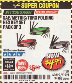 Harbor Freight Coupon SAE/METRIC/TORX FOLDING HEX KEY SET PACK OF 3 Lot No. 94905/60822/61921 Expired: 11/30/19 - $4.99