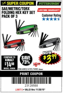 Harbor Freight Coupon SAE/METRIC/TORX FOLDING HEX KEY SET PACK OF 3 Lot No. 94905/60822/61921 Expired: 11/30/19 - $3.99