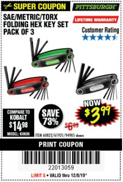 Harbor Freight Coupon SAE/METRIC/TORX FOLDING HEX KEY SET PACK OF 3 Lot No. 94905/60822/61921 Expired: 12/8/19 - $3.99