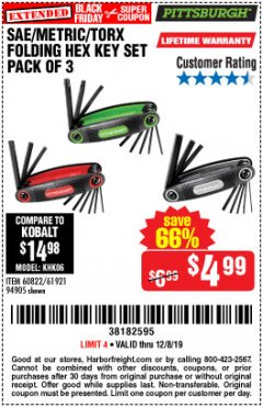 Harbor Freight Coupon SAE/METRIC/TORX FOLDING HEX KEY SET PACK OF 3 Lot No. 94905/60822/61921 Expired: 12/8/19 - $4.99