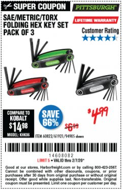 Harbor Freight Coupon SAE/METRIC/TORX FOLDING HEX KEY SET PACK OF 3 Lot No. 94905/60822/61921 Expired: 2/7/20 - $4.99