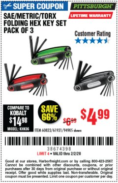 Harbor Freight Coupon SAE/METRIC/TORX FOLDING HEX KEY SET PACK OF 3 Lot No. 94905/60822/61921 Expired: 2/2/20 - $4.99