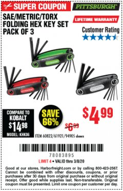 Harbor Freight Coupon SAE/METRIC/TORX FOLDING HEX KEY SET PACK OF 3 Lot No. 94905/60822/61921 Expired: 3/8/20 - $4.99