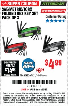 Harbor Freight Coupon SAE/METRIC/TORX FOLDING HEX KEY SET PACK OF 3 Lot No. 94905/60822/61921 Expired: 3/22/20 - $4.99