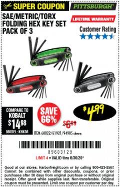 Harbor Freight Coupon SAE/METRIC/TORX FOLDING HEX KEY SET PACK OF 3 Lot No. 94905/60822/61921 Valid: 4/10/20 - 6/30/20 - $4.99