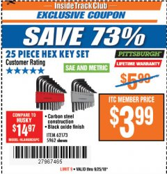 Harbor Freight ITC Coupon 25 PIECE HEX KEY SET Lot No. 5962/62173 Expired: 9/25/18 - $3.99