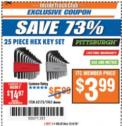 Harbor Freight ITC Coupon 25 PIECE HEX KEY SET Lot No. 5962/62173 Expired: 12/4/18 - $3.99