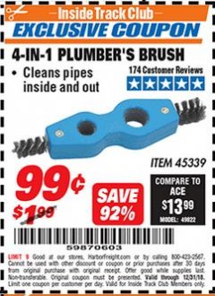 Harbor Freight ITC Coupon 4-IN-1 PLUMBER'S BRUSH Lot No. 45339 Expired: 12/31/18 - $0.99