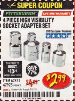 Harbor Freight Coupon 4 PIECE HIGH VISIBILITY SOCKET ADAPTER SET Lot No. 62851/67925 Expired: 7/31/19 - $2.99