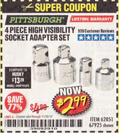 Harbor Freight Coupon 4 PIECE HIGH VISIBILITY SOCKET ADAPTER SET Lot No. 62851/67925 Expired: 11/30/19 - $2.99