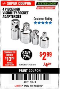 Harbor Freight Coupon 4 PIECE HIGH VISIBILITY SOCKET ADAPTER SET Lot No. 62851/67925 Expired: 10/20/19 - $2.99